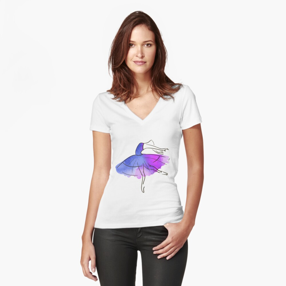 figura de bailarina, acuarela Camiseta entallada de cuello en V