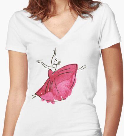 Ballerina Figur, Aquarell Tailliertes T-Shirt mit V-Ausschnitt