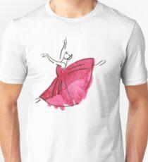 Ballerina Figur, Aquarell Slim Fit T-Shirt