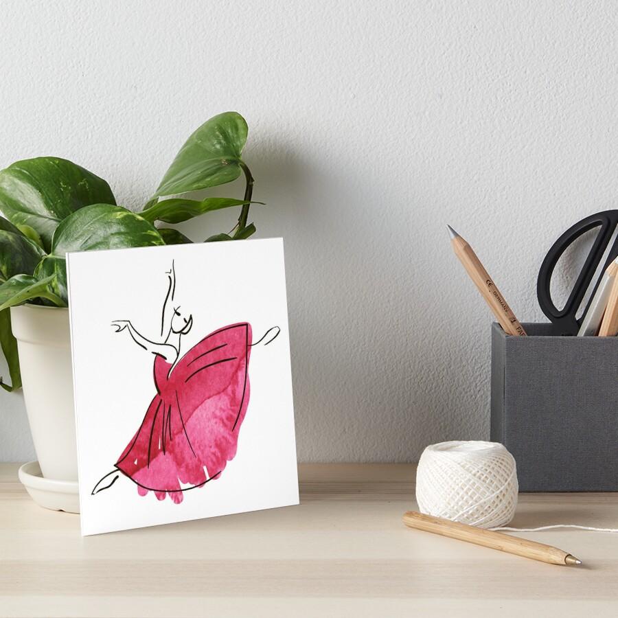 Ballerina Figur, Aquarell Galeriedruck
