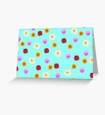 Turquoise Floral Print Pattern Greeting Card