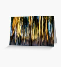 Abstract defocused colour light strips in a dark black night Greeting Card