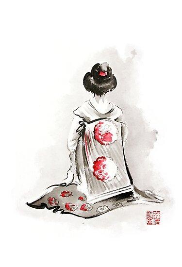 Fille De Geisha Dessin Grand Poster Art Aquarelle De Femme