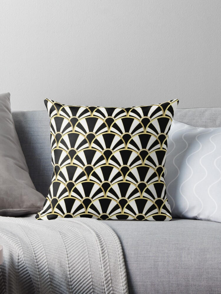 Art Deco Throw Pillows.Black White And Gold Art Deco Scallop Fan Pattern Throw Pillow By Suzzincolour