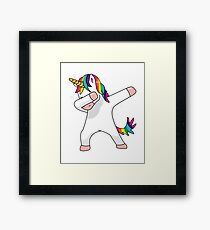 Unicorn Dab Shirt Dabbing Funny Magic Hip Hop T-Shirt For Men, Women, and Kids Framed Print