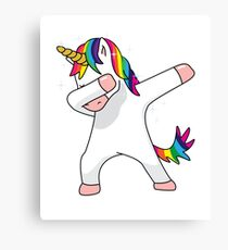 Unicorn Dab Shirt Dabbing Funny Magic Hip Hop T-Shirt For Men, Women, and Kids Canvas Print