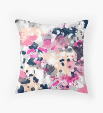 Nico - Abstract painting in pink, blush, navy, modern trendy colors Throw Pillow