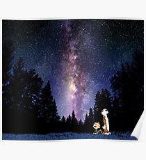 galaxy calvin and hobbes Poster