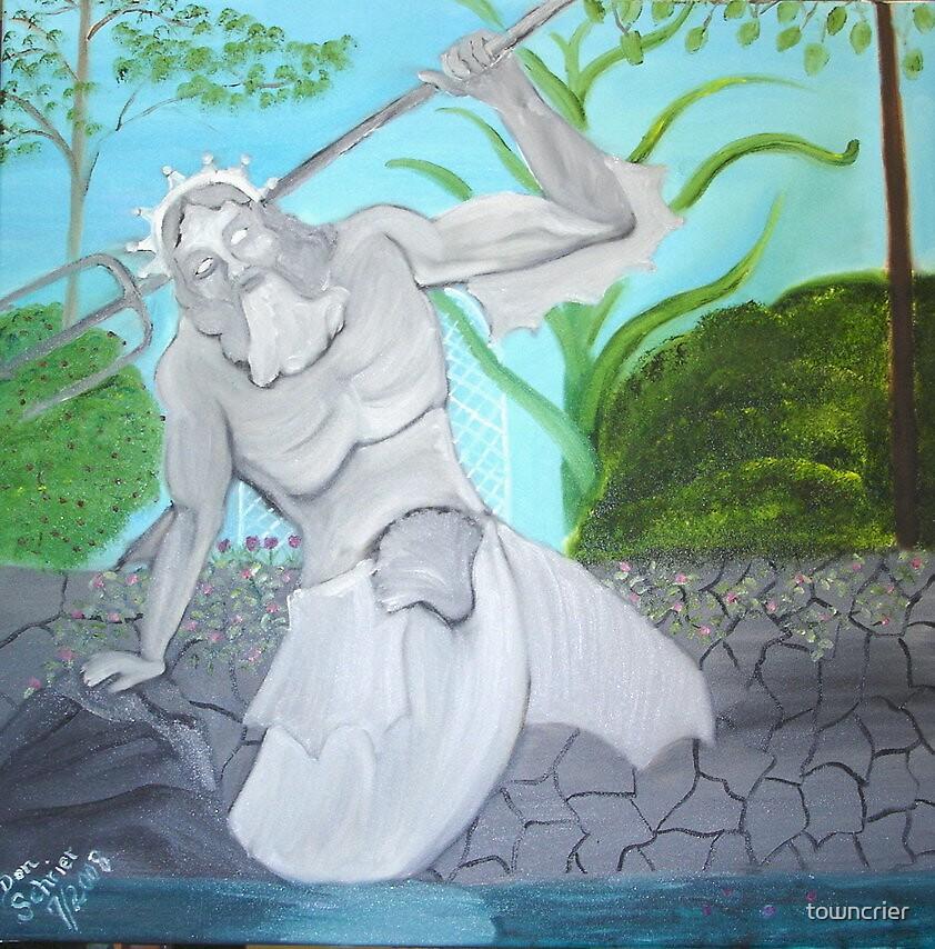Poseidon Statue in Garden Pool by towncrier