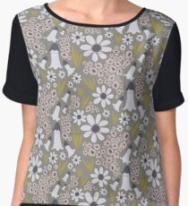 Blooms, bells and blades (white & mustard) Women's Chiffon Top