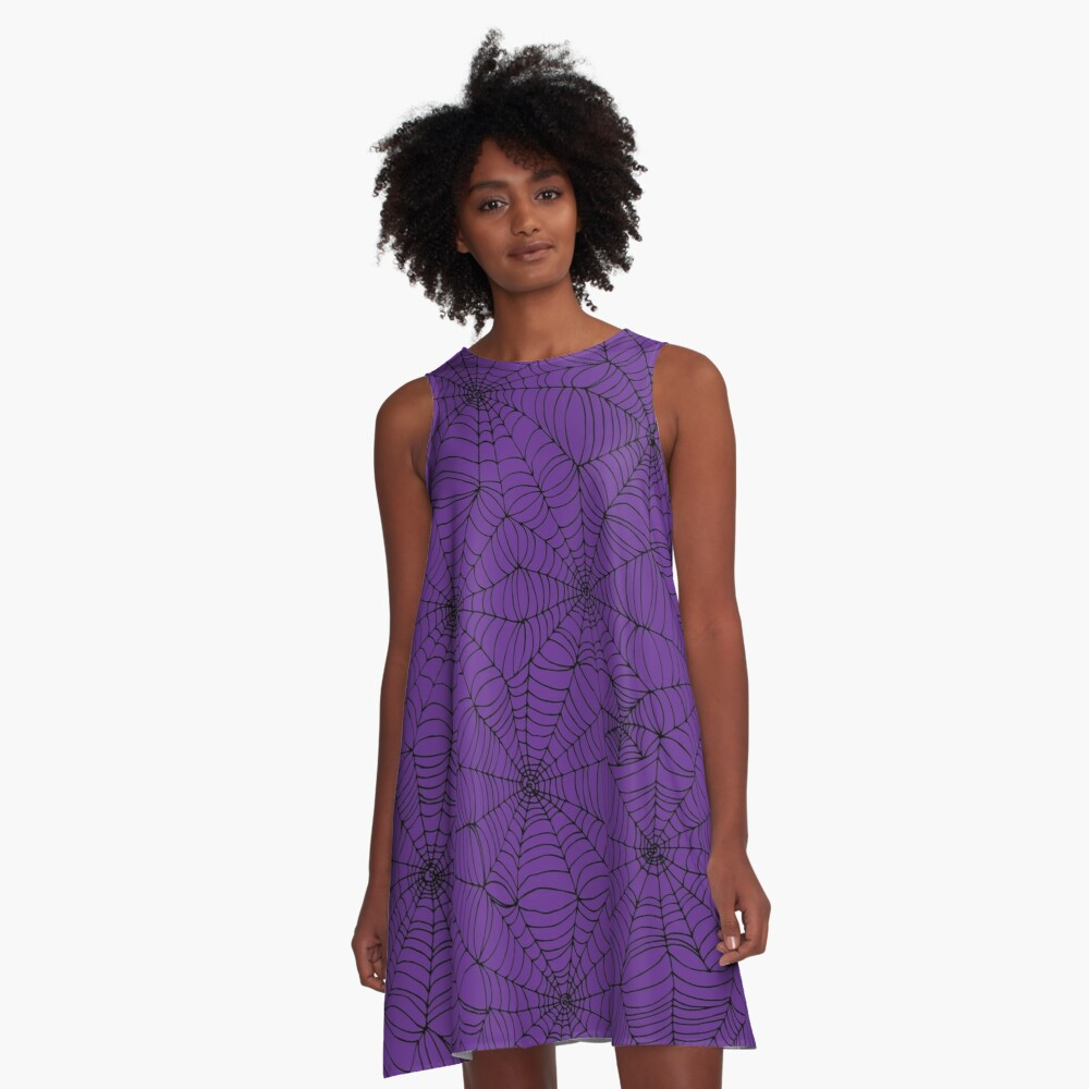 Spider web pattern - purple and black - Halloween pattern by Cecca Designs A-Line Dress