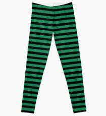 Halloween Stripes - Black and Green Leggings