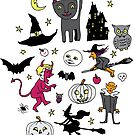 Retro Halloween - on Turquoise - Halloween pattern by Cecca Designs by Cecca-Designs