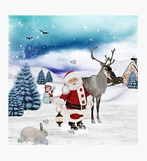 Christmas, Santa Claus with reindeer  Photographic Print