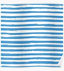 Watercolor nautical stripes pattern Poster