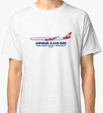 "Airbus A340-600 - Virgin Atlantic Airways ""Old Colours"" Classic T-Shirt"