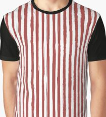 Red grunge striped print Graphic T-Shirt