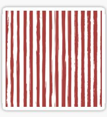 Red grunge striped print Sticker
