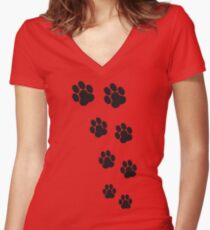 Animal Footsteps Women's Fitted V-Neck T-Shirt
