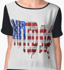 United States Typographic Map Flag Women's Chiffon Top