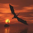 Dragon Flying Low Over the Sea at Sunset by algoldesigns