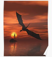 Dragon Flying Low Over the Sea at Sunset Poster