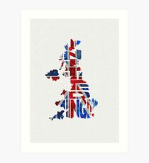 United Kingdom Typographic Kingdom Art Print