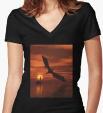 Dragon Flying Low Over the Sea at Sunset Women's Fitted V-Neck T-Shirt