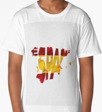 Spain Typographic Map Flag Long T-Shirt