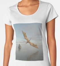 Dragon Flying Low Over the Sea in Daylight Women's Premium T-Shirt