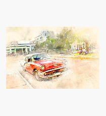 Cuba red car Photographic Print