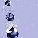 Blue Christmas Baubles and Bows by algoldesigns