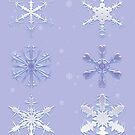 Frosted Blue Snowflakes by algoldesigns