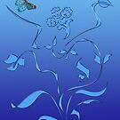 Blue Butterfly and Flourish by algoldesigns
