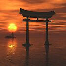 Japanese Floating Torii Gate at a Shinto Shrine, Sunset by algoldesigns