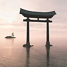 Japanese Floating Torii Gate at a Shinto Shrine, Evening by algoldesigns