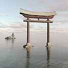 Japanese Floating Torii Gate at a Shinto Shrine by algoldesigns