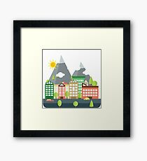 Mountains City Framed Print