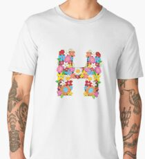"Spring Flowers Alphabet Monogram ""H"" Men's Premium T-Shirt"