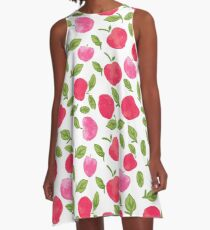 Seamless pattern with hand drawn watercolor apples on white background A-Line Dress