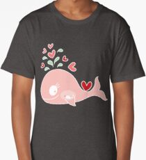 Whimsical Pink Pregnant Mommy Whale Long T-Shirt