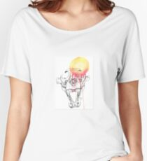 Dotwork and Watercolour Lion Skull Women's Relaxed Fit T-Shirt