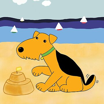 Cartoon Puppy Dog Dog at the Beach by Lesleysnacky