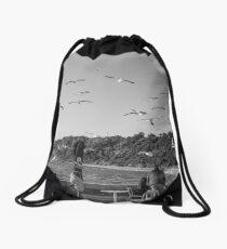Gulls on half moon bay Drawstring Bag