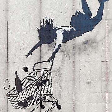 SHOP, SHOPPING, BANKSY, Graffiti Artist, Street Artist, 'Shop Until You Drop' Mayfair, London. by TOMSREDBUBBLE