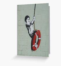 BANKSY, Graffiti Artist, Street Artist, Swinger, in New Orleans Greeting Card