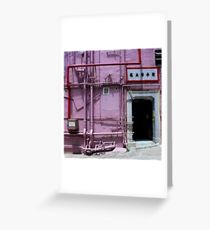 Pipes, wall, door and a bit of pavement. Greeting Card