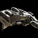 Spaceship on black - front side view by algoldesigns