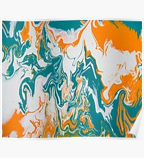 Topography Turquoise and gold Poster
