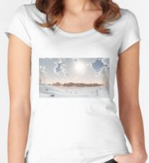 Distant Castle in the Winter Snow Women's Fitted Scoop T-Shirt
